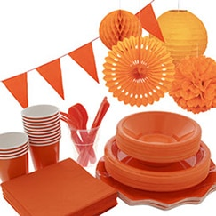 Orange plain tableware