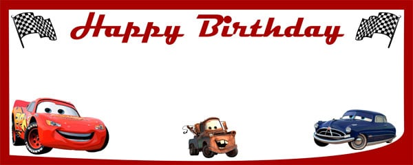 Ready to Race Cars Birthday Design Small Personalised Banner - 4ft x 2ft