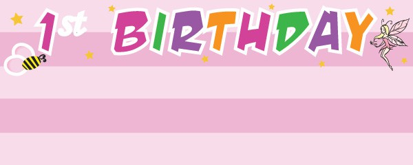 Fun at One Girl Happy Birthday Design Small Personalised banner - 4ft x 2ft