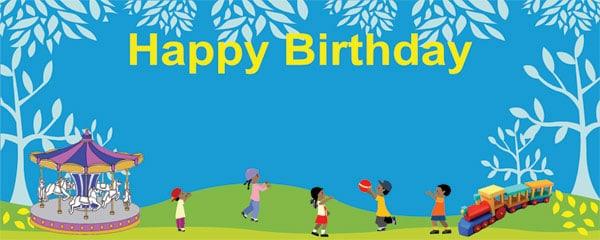 Happy Birthday In The Night Garden Design Medium Personalised banner - 6ft x 2.25ft
