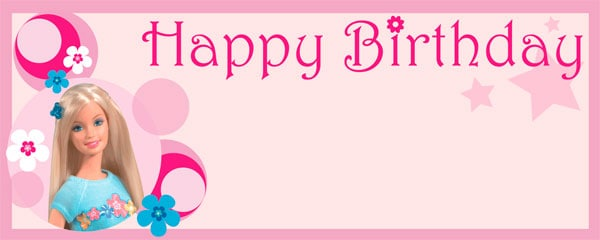 Barbie Happy Birthday Personalised Banner Partyramacouk