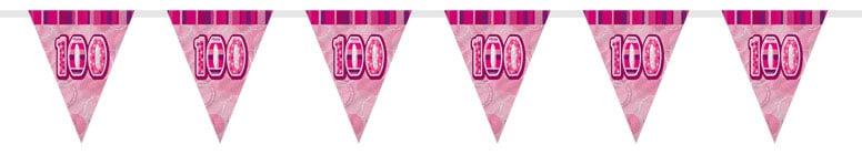 Pink Glitz 100th Birthday Bunting - 12 Ft / 366cm