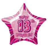 Pink Glitz Age 13 Happy Birthday Prismatic Foil Helium Balloon 51cm 20Inch