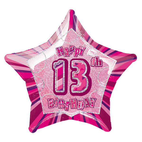 Pink Glitz Age 13 Happy Birthday Prismatic Foil Helium Balloon 51cm / 20Inch