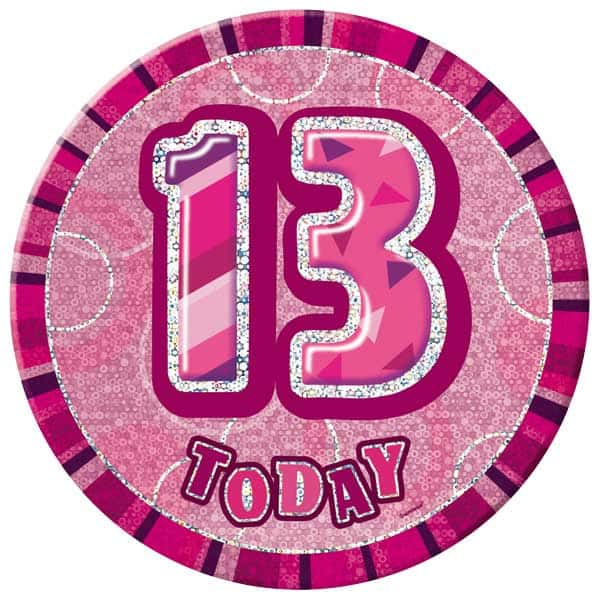 Pink Glitz 13th Birthday Badge - 6 Inches / 15cm Product Image