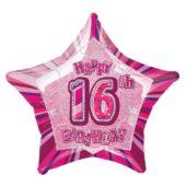 Pink Glitz Age 16 Happy Birthday Prismatic Foil Helium Balloon 51cm 20Inch