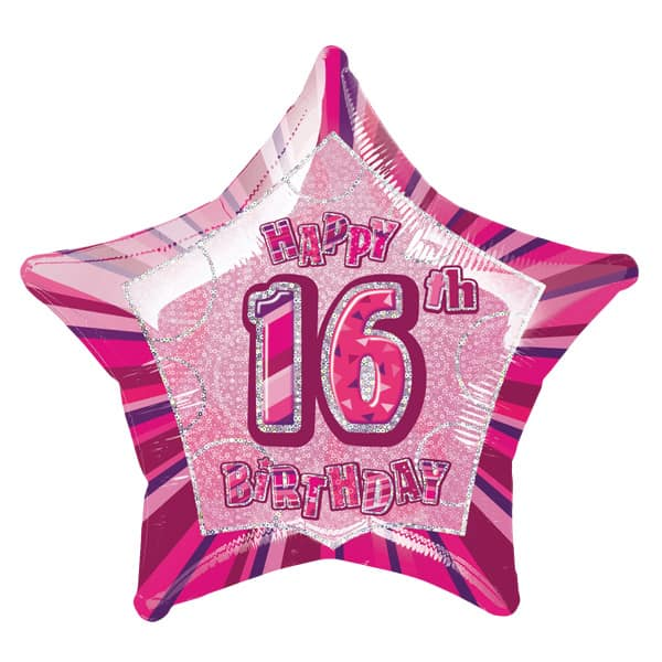 Pink Glitz Age 16 Happy Birthday 20 Inch