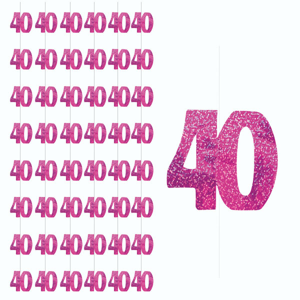 Pink Glitz 40th Birthday Hanging Decoration - 5 Ft / 152cm - Pack of 6 Strings