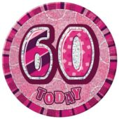 Pink Glitz 60th Birthday Badge – 6 Inches / 15cm