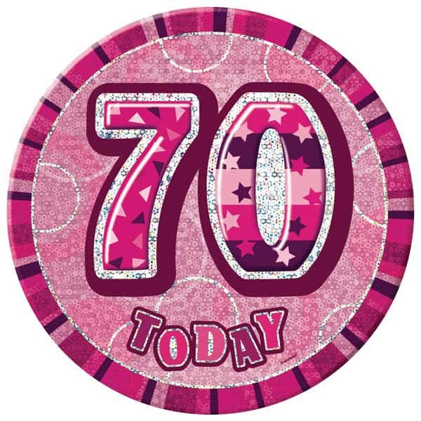 Pink Glitz 70th Birthday Badge - 6 Inches / 15cm Product Image