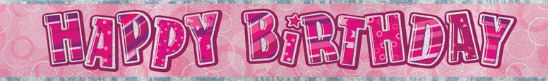 Pink Glitz Happy Birthday Prismatic Banner – 274cm