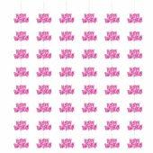 Pink Glitz Happy Birthday Hanging Decoration – 5 Ft / 152cm – Pack of 6