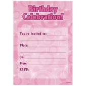 Pink Glitz Happy Birthday Invitations with Envelopes – Pack of 16