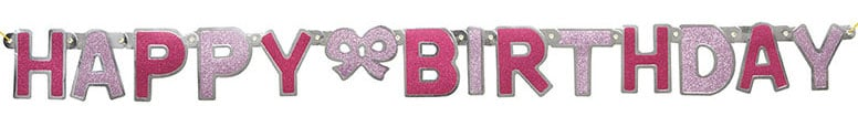 Pink Glitz Happy Birthday Jointed Cutout Banner – 4.16 Ft / 1.27m