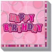 """Pink Glitz """"Happy Birthday"""" 3 Ply Luncheon Napkins – 13 Inches / 33cm – Pack of 16"""