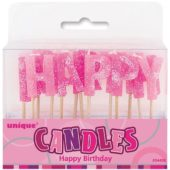 Pink Glitz 'Happy Birthday' Pick Candles – Pack of 13