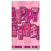 "Pink Glitz ""Happy Birthday"" Plastic Tablecover – 137cm x 213cm"