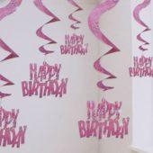 Pink Glitz Swirl Decorations – Pack of 6
