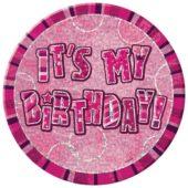 Pink Glitz Happy Birthday Badge – 6 Inches / 15cm