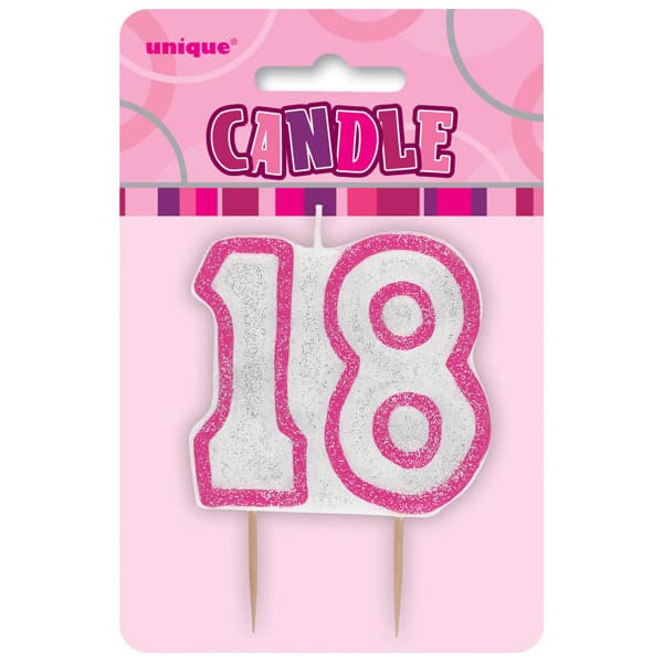 Pink Glitz Theme Number Candle