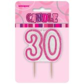 Pink Glitz Theme Number Candle 30