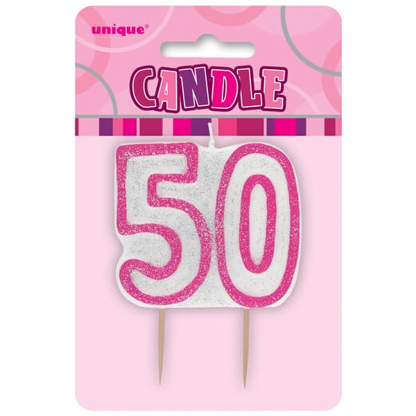 Pink Glitz Theme Number Candle - Number 50
