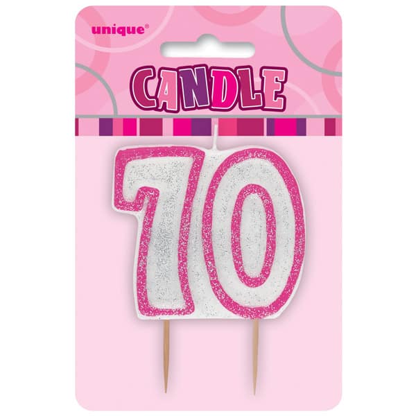 Pink Glitz Theme Number Candle - Number 70
