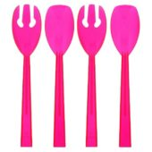 Neon Pink Plastic Serving Spoons and Forks – Pack of 4