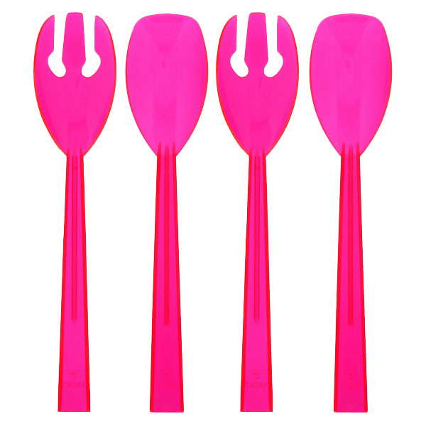 Neon Pink Plastic Serving Spoons and Forks - Pack of 4