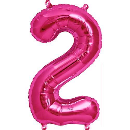 Pink Number '2' Supershape Foil Balloon - 34 Inches / 86 cm Product Image