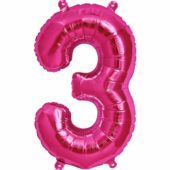 Pink Number '3' Supershape Foil Balloon – 34 Inches / 86cm