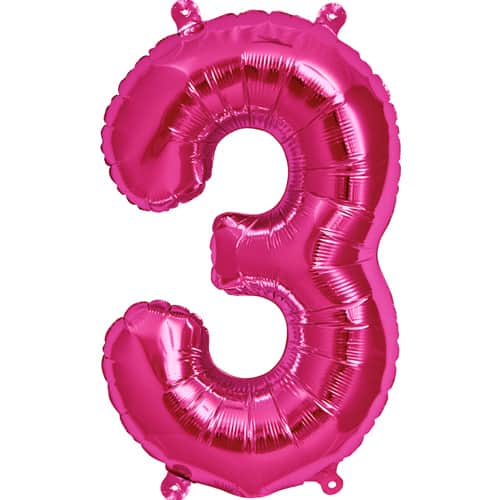 Pink Number 3 Helium Foil Giant Balloon 86cm / 34 in Product Image