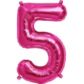 Pink Number '5' Supershape Foil Balloon – 34 Inches / 86cm