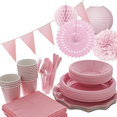 Pink plain tableware