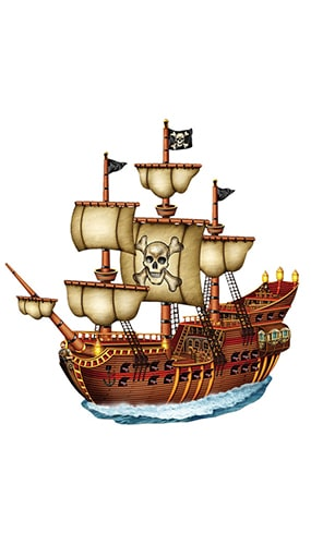Pirate Ship Jointed Decorative Cutout - 31 Inches / 79cm