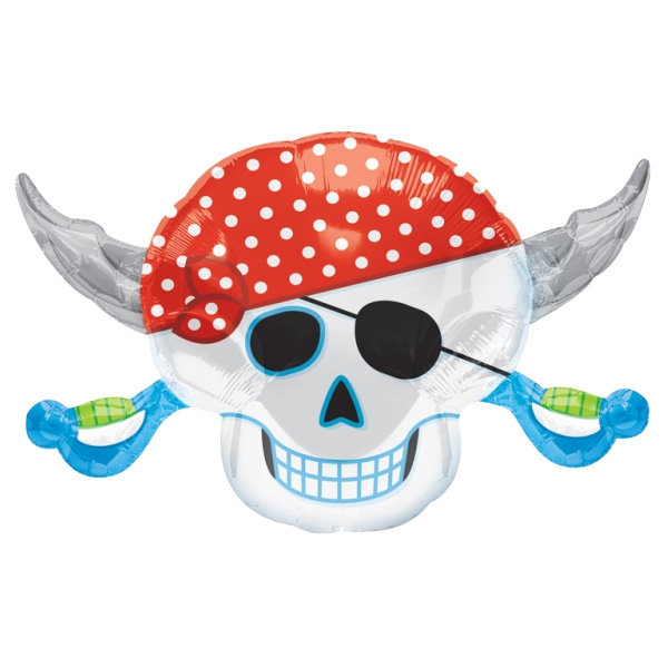 Pirate Skulls and Cross Swords Helium Foil Giant Balloon 71cm / 28 in