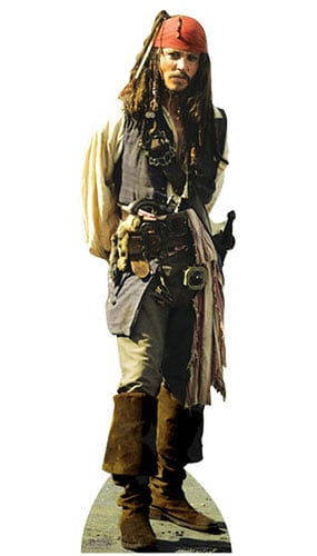 Pirates of the Caribbean Captain Jack Sparrow Lifesize Cardboard Cutout - 183cm Product Gallery Image
