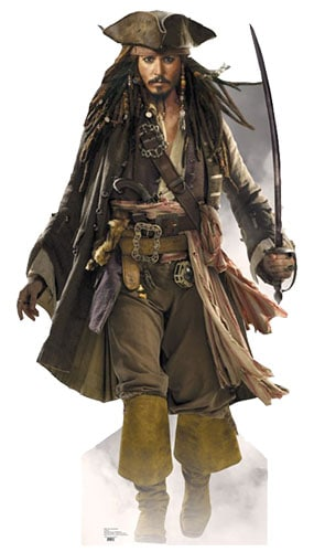 Pirates of the Caribbean Captain Jack Sparrow Sword Lifesize Cardboard Cutout - 183cm Product Gallery Image