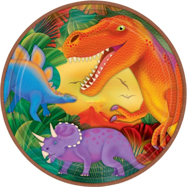 Prehistoric Party Paper Plate - 9 Inches / 23cm