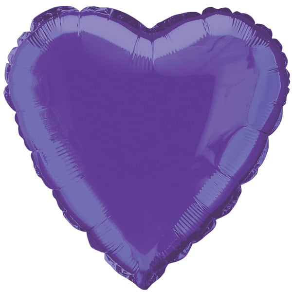 Purple Heart Foil Helium Balloon 46cm / 18 Inches