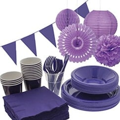 Purple plain tableware