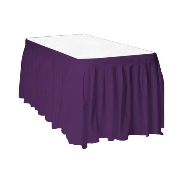 Purple Plastic Table Skirt - 426cm x 74cm