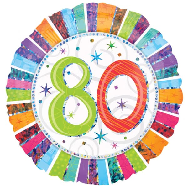 Radiant 80th Birthday Holographic Round Foil Helium Balloon 46cm / 18Inch