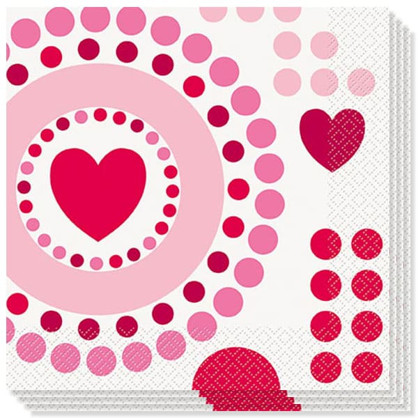 Radiant Hearts 2 Ply Luncheon Napkins - 13 Inches / 33cm - Pack of 16