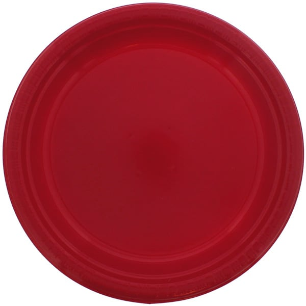 Red Round Plastic Plates 23cm - Pack of 20