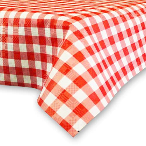 Red and White Chequered Paper Tablecover - 90cm x 90cm