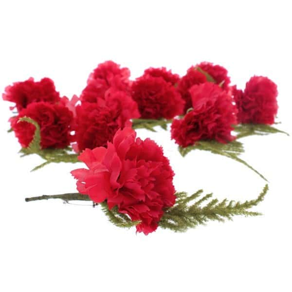 Red Button Hole Fabric Carnations - Pack of 12 Product Image