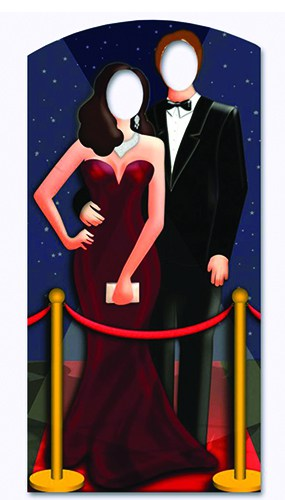 Red Carpet Celebrity Couple Stand in Cardboard Cutout - 188cm Product Image