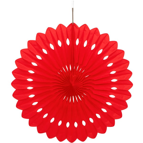 Red Hanging Decorative Honeycomb Fan 40cm