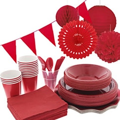 Red plain tableware